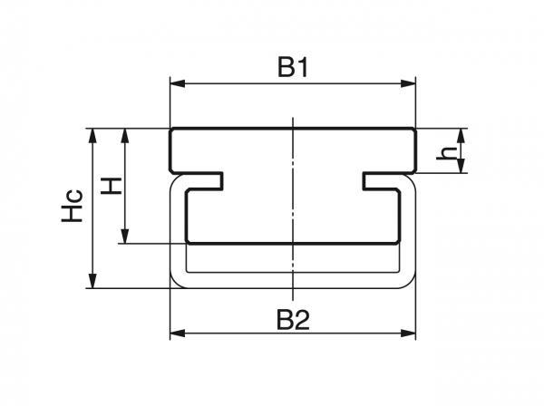 Type CF - Profiles for conveying and transportation - Murtfeldt GmbH Kunststoffe - Technische Zeichnung 1