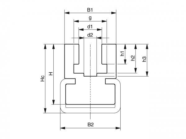 Type CK - Chain guides for roller chains - Murtfeldt GmbH Kunststoffe - Technische Zeichnung 1