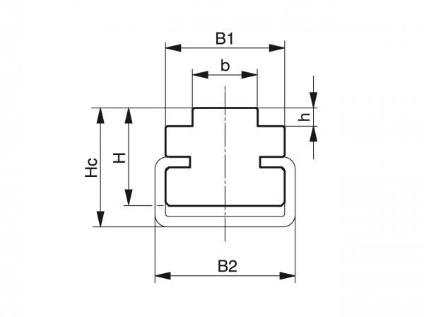 Type CT - Chain guides for roller chains - Murtfeldt GmbH Kunststoffe - Technische Zeichnung 1