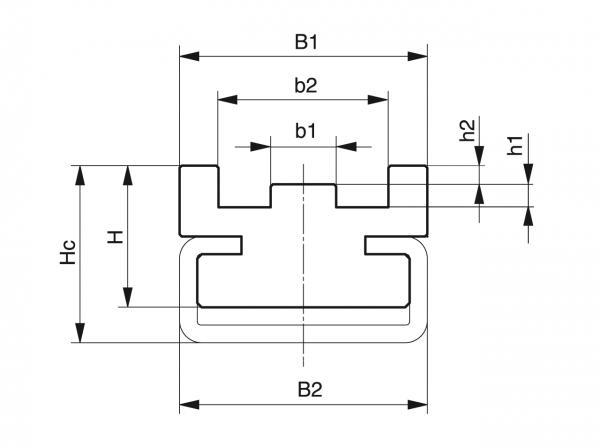 Type CTS - Chain guides for roller chains - Murtfeldt GmbH Kunststoffe - Technische Zeichnung 1