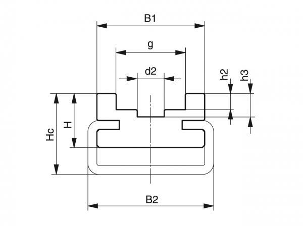 Type CU - Chain guides for roller chains - Murtfeldt GmbH Kunststoffe - Technische Zeichnung 1