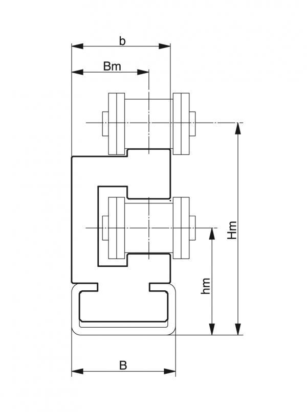 Type ETA - Chain guides for roller chains - Murtfeldt GmbH Kunststoffe - Technische Zeichnung 1