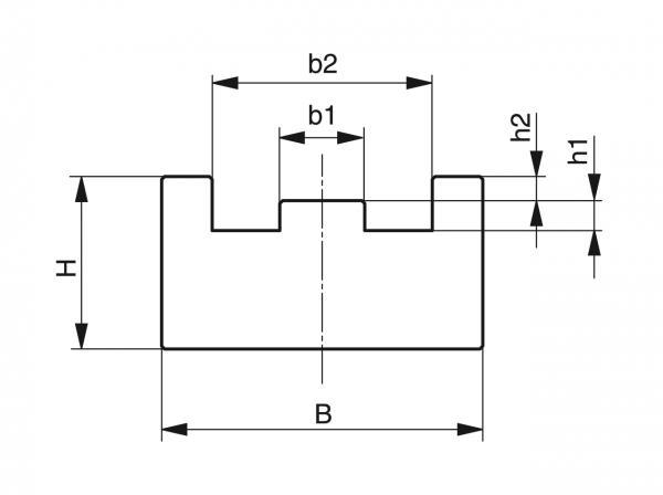 Type TS - Chain guides for roller chains - Murtfeldt GmbH Kunststoffe - Technische Zeichnung 1