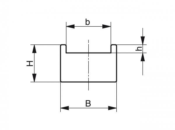 Type TU - Chain guides for roller chains - Murtfeldt GmbH Kunststoffe - Technische Zeichnung 1