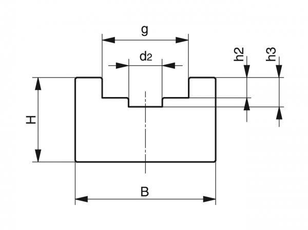 Type U - Chain guides for roller chains - Murtfeldt GmbH Kunststoffe - Technische Zeichnung 1