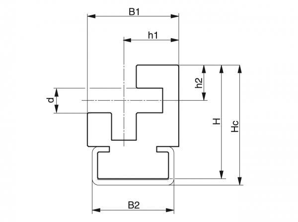 Type CRO - Chain guides for round link chains - Murtfeldt GmbH Kunststoffe - Technische Zeichnung 1