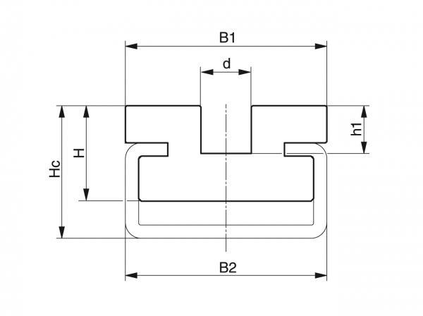 Type CRU - Chain guides for round link chains - Murtfeldt GmbH Kunststoffe - Technische Zeichnung 1